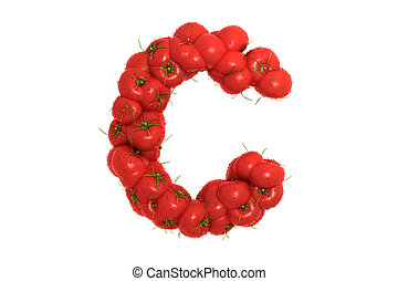 Carta de tomate C sobre fondo blanco