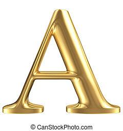 Carta dorada A, colección de joyas