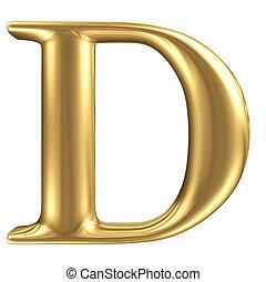 Carta dorada D, colección de joyas