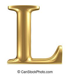 Carta dorada L, colección de joyas