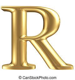 Carta dorada R, colección de joyas