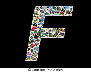 "Carta ""F"" hecha de fotos de viajes"