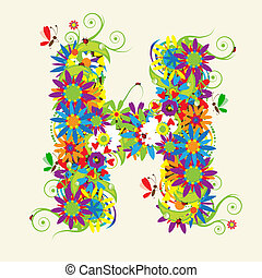 Carta H, diseño floral. También veo cartas en mi galería