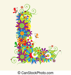 Carta L, diseño floral. También veo cartas en mi galería