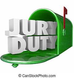 carta, legal, jurado, responsabilidad, buzón, aviso, deber