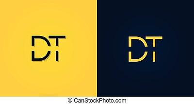 carta, minimalista, inicial, logo., resumen, dt