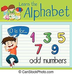 carta, números, flashcard, o, impar