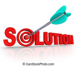 cartas, blanco, diana, solución, solucionado, flecha, palabra, problema, 3d