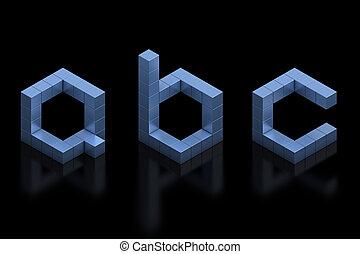 cartas, cúbico, 3d, c, fuente, b