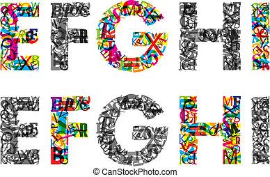 Cartas coloridas de alfabeto. EPS10