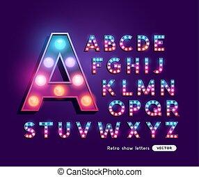 Cartas coloridas de teatro retro alfabeto