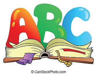 Cartas de cartón ABC con un libro abierto