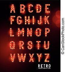 Cartas de iluminación de teatro retro