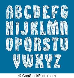 cartas, elegante, alfabeto, escrito, mano, s, vector, fuente, fresco, dibujado