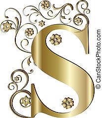 Cartas mayúsculas de oro
