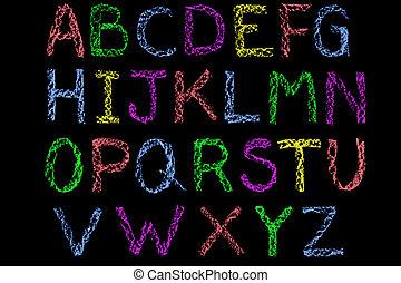 cartas, tiza, pizarra, manuscrito, coloreado, alfabeto