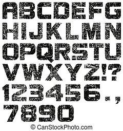 Cartas y números grunge