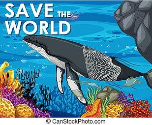 cartel, ballena, bolsas de plástico, diseño