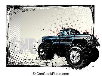 cartel, camión, monstruo