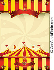 cartel, cima, circo, amarillo rojo