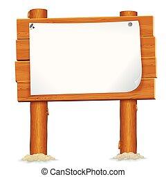 Cartel de madera con hoja de papel