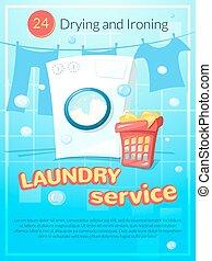 Cartel de servicio de lavandería, ilustración vectorial
