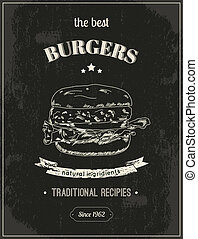 cartel, hamburguesa