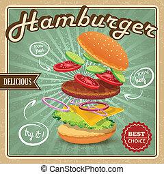 cartel, hamburguesa, retro