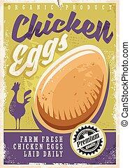 cartel, huevos, diseño, promocional