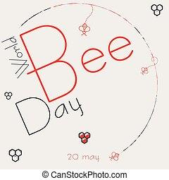 cartel, mundo, día, abeja