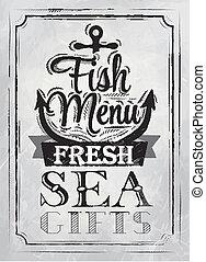 cartel, pez, menú, carbón