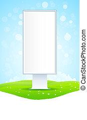 Cartel vacío en el paisaje verde