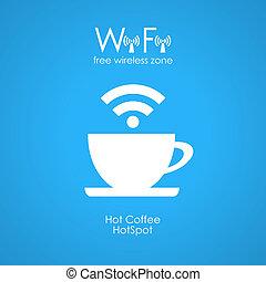 cartel, wifi, café, libre