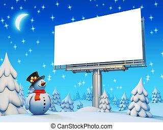 cartelera, snowman, copyspace, serie