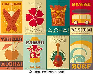 carteles, retro, colección, hawai