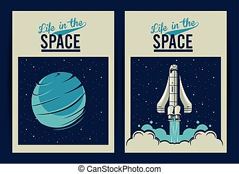carteles, vida, vendimia, venus, letterings, estilo, espacio, nave espacial, planeta