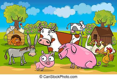 Cartoña rural con animales de granja