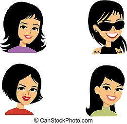 Cartoon avatar retrato de las mujeres ilustradas