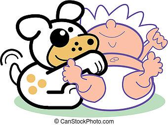 Cartoon, bebé, arte de cortar perros