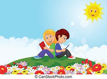 Cartoon Boy y chica leyendo el libro I
