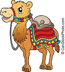 Cartoon camel con montura