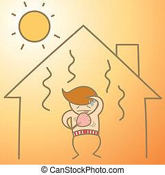 Cartoon caracter del hombre en la casa de calor
