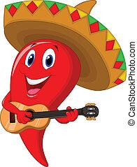Cartoon chile mariachi weari