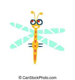 Cartoon divertida libélula colorida vector de caracter ilustración