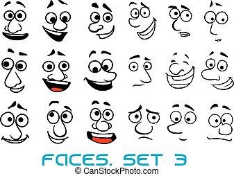 Cartoon Doodle caras con diferentes emociones