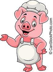 Cartoon feliz chef cerdo presentando
