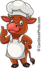 Cartoon feliz chef vaca dando pulgares arriba