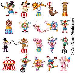 Cartoon feliz colección de iconos de circo