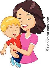 Cartoon feliz madre de familia sosteniendo