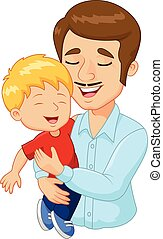 Cartoon feliz padre de familia sosteniendo